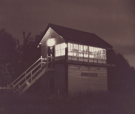 An atmospheric night-time view of Walkden box in 1992 at about 11pm.
